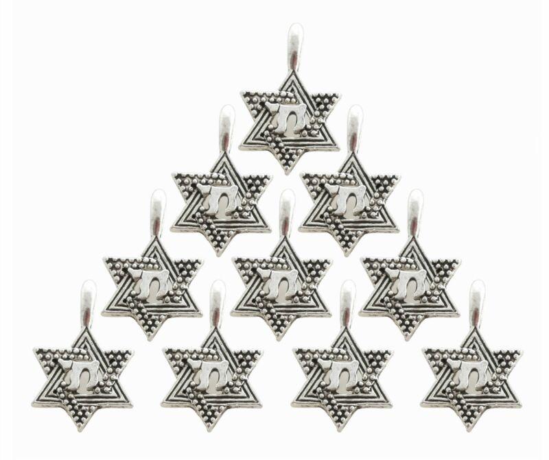 DIY Lot of 10 SILVER STAR OF DAVID CHAI Pendant Amulet Jewish Judaica Jewelry