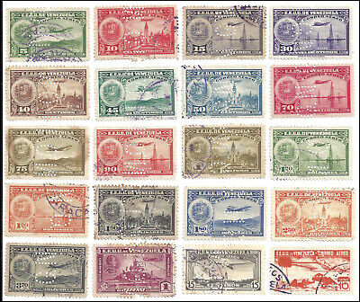 VENEZUELA - Perfin GN on airmail issues of 1930's - 20 different stamps