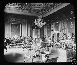 Glass-Magic-lantern-slide-WARWICK-CASTLE-CEDAR-DRAWING-ROOM-C1890