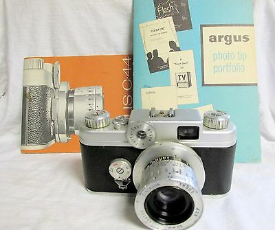 VINTAGE 1950s ARGUS C-44 CAMERA WITH MANUAL AND MORE