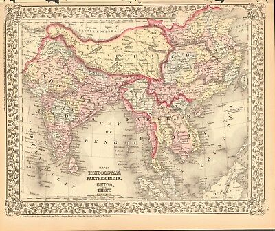 1874 ANTIQUE MAP - HINDOOSTAN, FARTHER INDIA, CHINA & TIBET