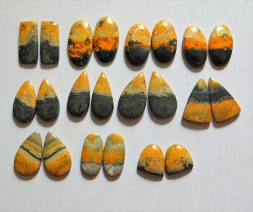 194.75 Cts Natural Bumble Bee Jasper 11 Pair Lot Cabochon Match Pair 13