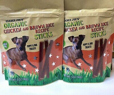 2 X Trader Joes Organic Chicken & Brown Rice Recipe Sticks Puppy/Dog Wheat Free