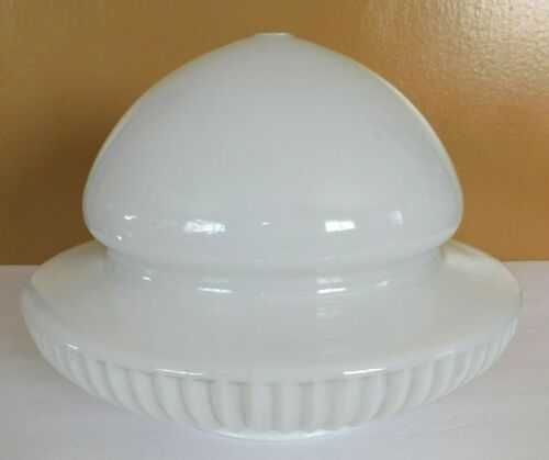 Large Vintage White Ribbed & Smooth Glass Ceiling Mount Lamp Shade