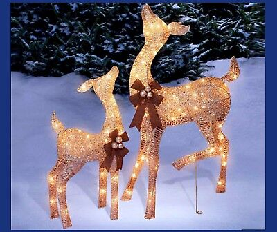2PC LIGHTED DOE & FAWN CHAMPAGNE DEER REINDEER CHRISTMAS YARD OUTDOOR DECOR NEW