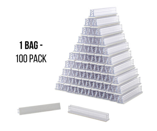 """Sign Holders SuperGrip 3""""x ½"""" Clear Plastic Gripper Price Tag Mount (Bag of 100)"""