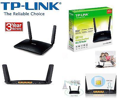 TP-LINK AC750 Wireless Dual Band 4G LTE Router Archer MR200 SIM Free UK Plug
