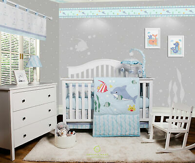 6-Piece Ocean Sea Dolphin Baby Girl Boy Nursery Crib Bedding Sets By OptimaBaby