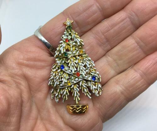 Vintage ART Signed Flocked Christmas Tree Brooch Rhinestones
