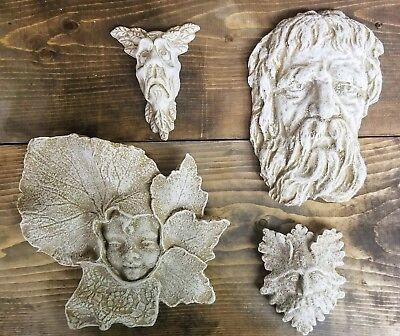 Lot of 4 Green Man Leaf Face Home Garden Wall Plaque Decor Clearance Lot 12