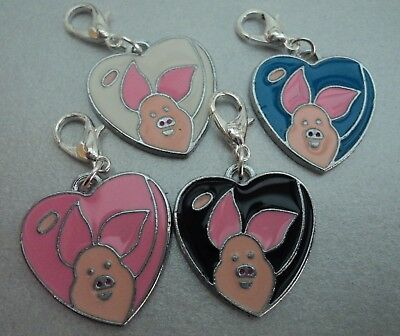POPULAR GIRLS HEART PIGLET CLIP-ON-CHARMS,FOR BAGS/KEYRINGS,4 STYLES (Piglet Heart Charm)