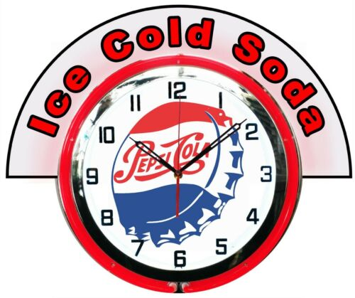 "Pepsi Bottle Cap w/ Ice Cold Soda Marquee 19"" Red Neon Clock Mancave"