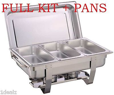 1 Full Size Chafer Kit 3 Bonus 13 Size Pans Catering Hotel Chafing Dish More