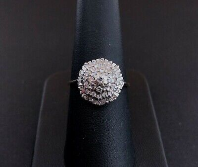 (NE6) 9ct CARAT Gold Diamond Chip Cluster Ring 2.6 grams size P