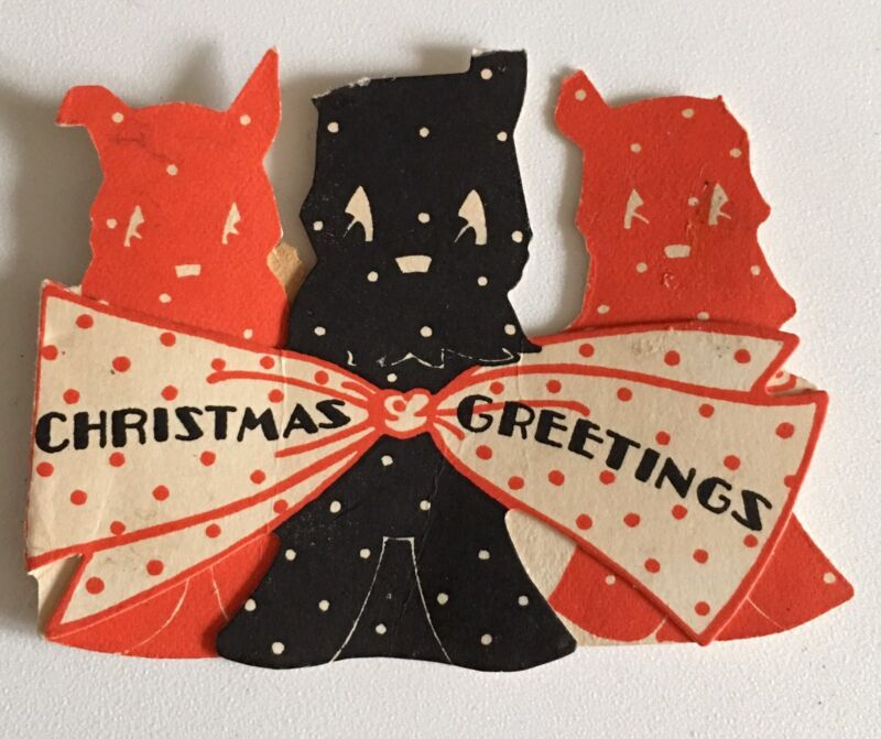 Vintage Scottie Dogs Christmas Card Black Red 1940s Greetings Scotty