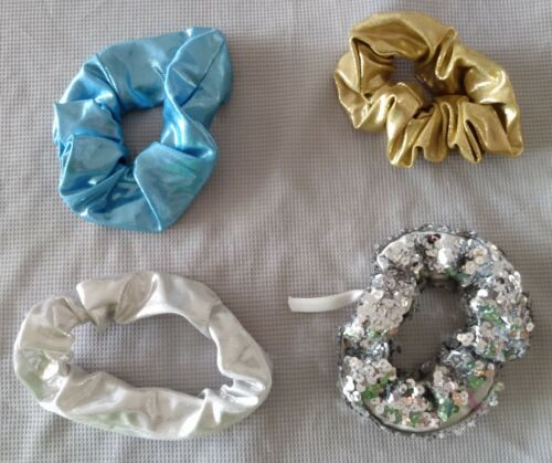 4 SPANDEX HAIR SCRUNCHIES Dance Costume Accessory:Gold, Blue, Silver Myst+Sequin