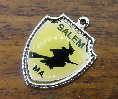 Vintage silver SALEM WITCH MASSACHUSETTS STATE HALLOWEEN TRAVEL SHIELD charm E18