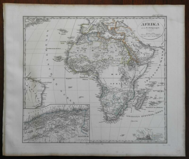 African Continent Algeria Zulus Egypt Guinea Unexplored Land 1867 Stieler map