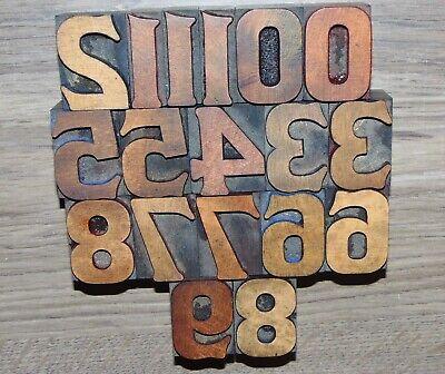 Printing Letterpress Printers Block Wood Type Numbers 0-9 - 1 516 Tall