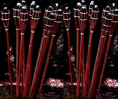 24 Bambusfackeln Gartenfackel 90cm ROTBRAUN Bambus Fackel Garten Deko Öllampe