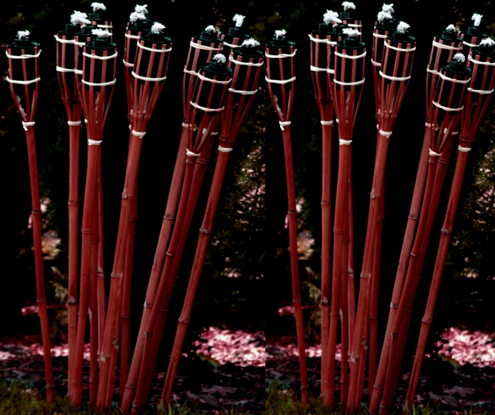 12 Stk Bambusfackeln 120 cm ROTBRAUN Gartenfackel Bambus Fackel Garten Deko