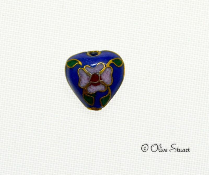 Oriental Cloisonne Beads Loose 12mm x 12mm heart