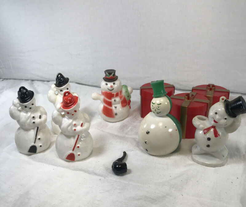 Lot of 10 Rosbro Hard Plastic Christmas Ornaments, Candy Holders & Light Covers