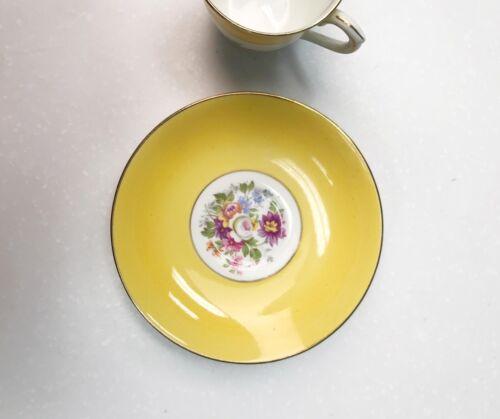 Colclough Bone China Yellow Floral Demitasse Cup & Saucer Set England