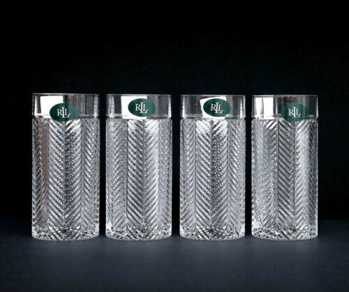 NEW - Set of 4 Ralph Lauren Crystal HERRINGBONE Highball Glasses 13.5 oz