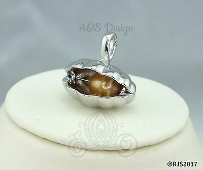 Giant Clam Pearl Cage Necklace Oyster Shell Locket Holds Pearls Beads CHARM ONLY - Oyster Shell Pearl