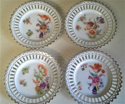 "Lot 4 Carl Schumann Bavaria Vintage Reticulated 6"" Plates Floral 1900 Green Mark"