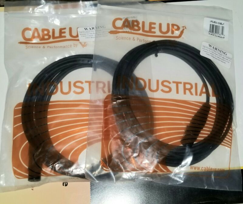 Set of 2 - Pro Audio Cables XLR Female to RCA Male 15 Feet Cable Up Industrial