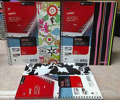 3 Staples Accel 1 Subject 1 Divider 2 Pockets Wide Ruled Notebooks 100 Sheets