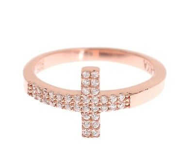 NEW NIALAYA Ring Authentic Womens Cross CZ Pink Gold 925 Silver s. US8/EU57