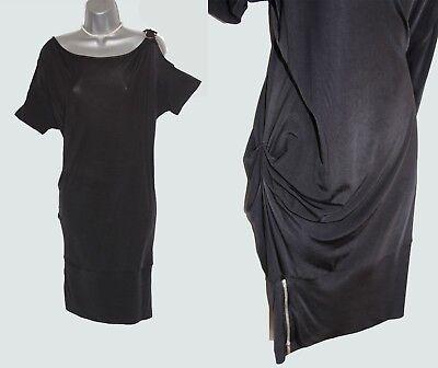 Karen Millen UK 10 Black Jersey Low Waist Side Zips Casual Everyday Mini Dress