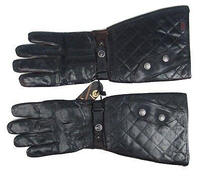 Sheepskin Vintage Fashion Motorcycle Style Long Mens Biker Gloves Size L