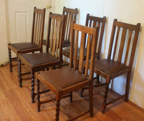 SIX RARE Antique English Pub Barley Twist DiningChairs - Will quote shipping