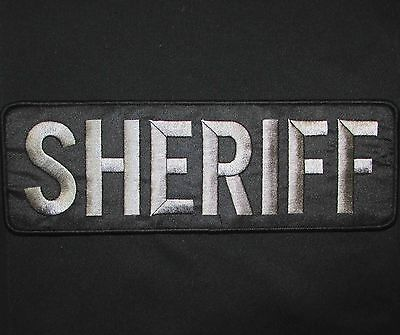 SHERIFF GREY BLACK UNIFORM EMBROIDERED TACTICAL HOOK PATCH PANEL  10X3.25