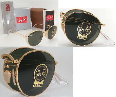 New Authentic Ray-Ban Round Metal Folding RB 3532 001 50mm Gold  / Green (Ray Ban Round Folding)