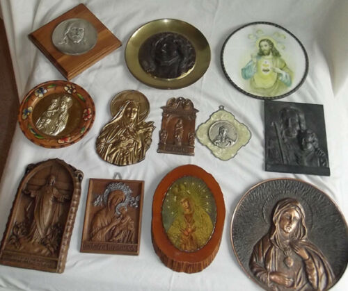 ONE DOZEN Religious Plaques WHOLESALE Cast Metal Pressed Wood St Therese MORE