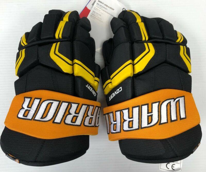 "New Warrior Covert QRE3 Senior Ice Hockey Player Gloves 13"" inch SR Black Yellow"