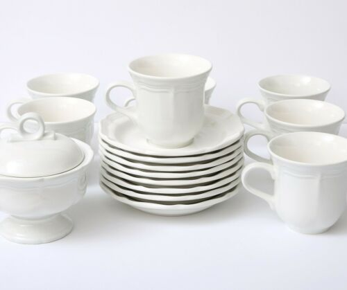Lot of 16 Mikasa FRENCH COUNTRYSIDE 7 Flat Cups 8 Saucers 1 Sugar and Lid F9000