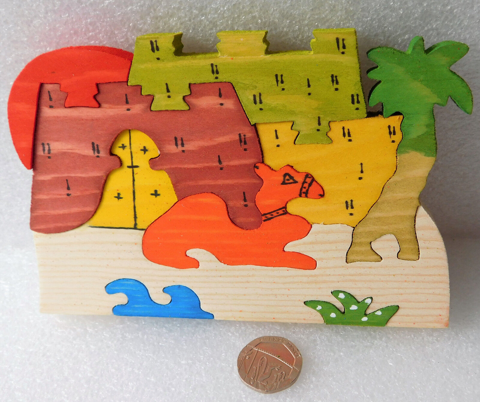 "Wooden camel jigsaw puzzle from Egypt hand-made free-standing decorative 5"" x 4"""