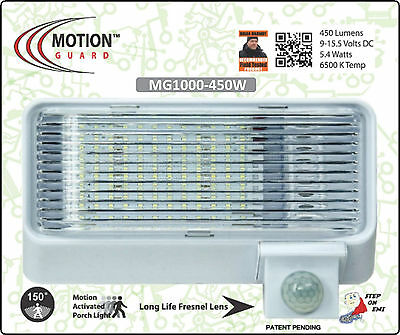 MG1000-450W, 12 volt, Camper or RV motion Light, White, Day/Night Sensor, 450 LM