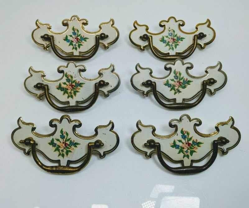Set of 6 Dresser Drawer Pulls White Enamel Brass Plated Vintage