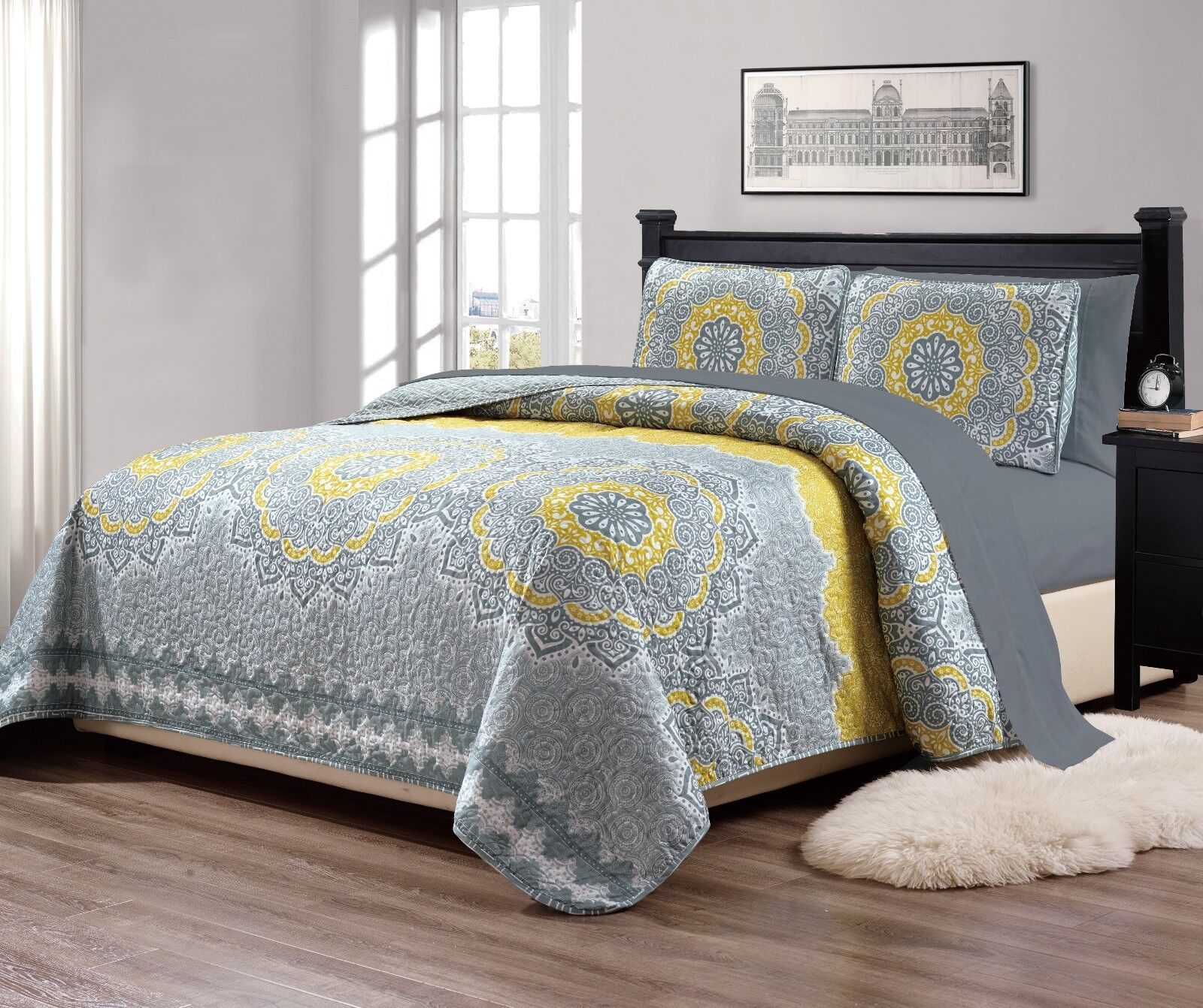 """Fancy Linen Over Sized Quilt And Sheet Set Yellow """"Gray Gree"""