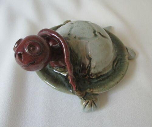 Whimsical Handmade Studio Art Pottery Glazed Stoneware Turtle Sculpture Figurine