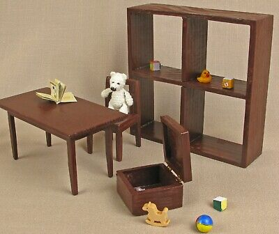 Playroom brown Set for dolls toys for dolls house wooden Furniture Barbie chair