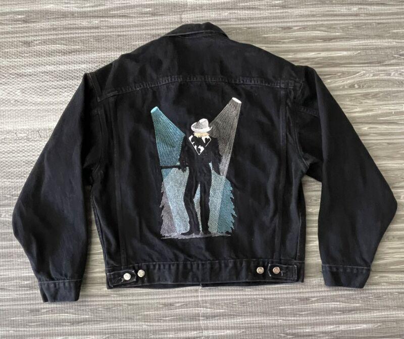 ALAN JACKSON Concert Tour Black Denim Jacket Vintage 1990s Men's Medium
