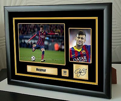 "Neymar Barcelona Framed Canvas Print Signed Limited Edition  ""Great Gift"""